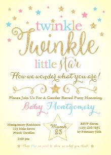 Gender reveal invitations zazzle twinkle twinkle little star gender reveal invite maxwellsz