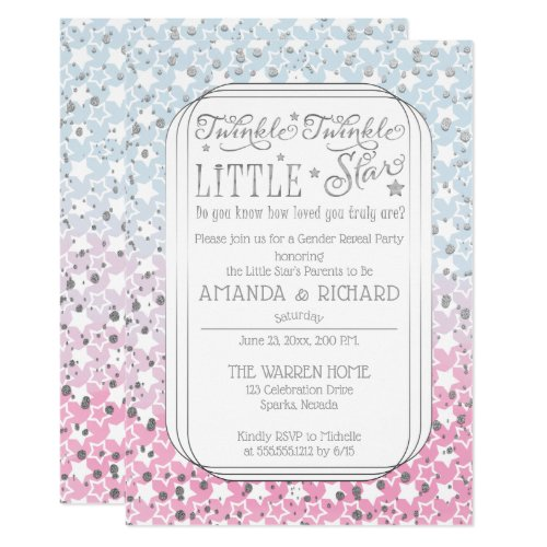 Twinkle Twinkle Little Star Gender Reveal Party Invitation