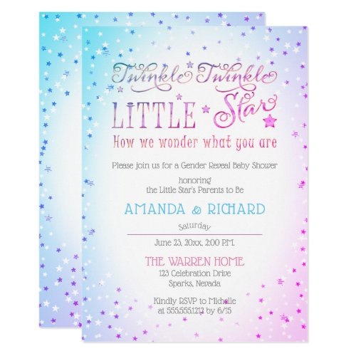 Twinkle Twinkle Little Star Gender Reveal Shower Invitation