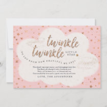 Twinkle Twinkle Little Star Girls Pink Baby Shower Thank You Card