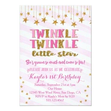 seasidepapercompany Twinkle Twinkle Little Star Invitation Pink