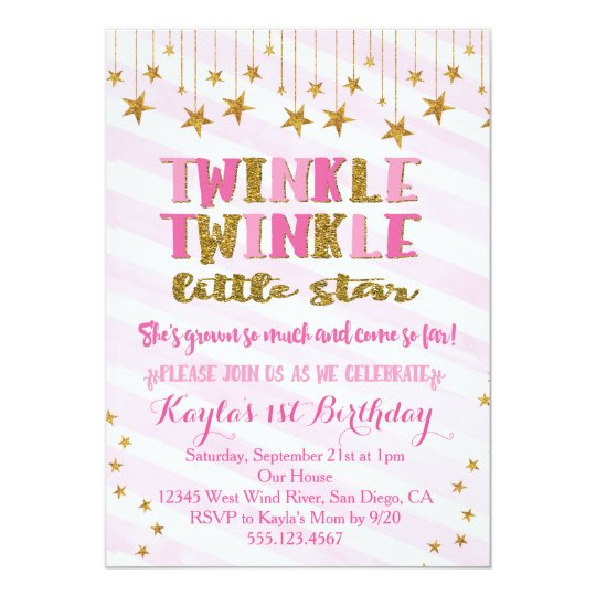 Twinkle Twinkle Little Star Invitation Pink Zazzle Com