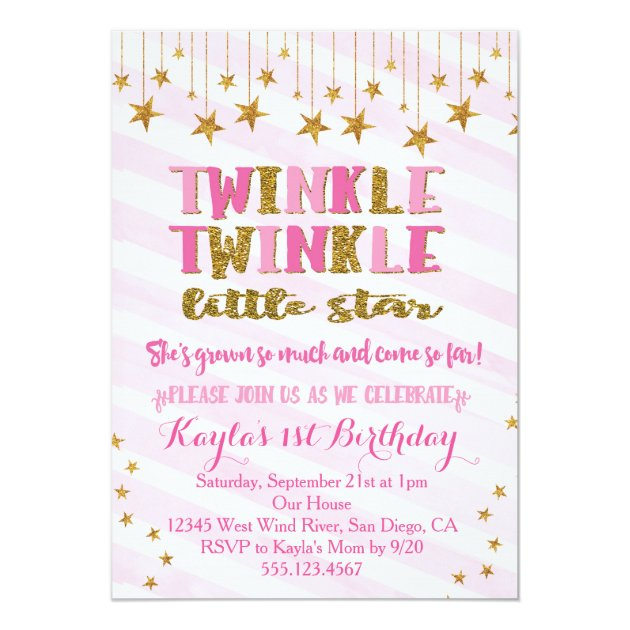 Twinkle Twinkle Little Star Baby Shower Invitations with beautiful invitations layout
