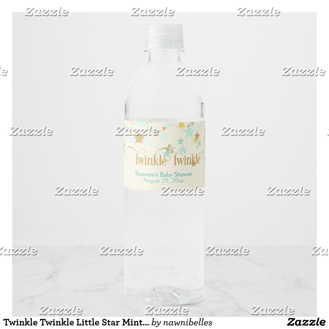 Twinkle Twinkle Little Star Mint Green & Gold Water Bottle Label