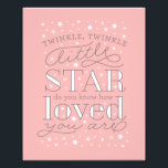 "Twinkle Twinkle Little Star Nursery Art Print<br><div class=""desc"">This typographic art print features the saying &quot;twinkle twinkle little star,  do you know how loved you are&quot;,  making it perfect for your little girl&#39;s nursery! Click on &quot;customize it&quot; to change the background color to match your nursery decor. Matching baby shower and birth announcement stationery also available:</div>"
