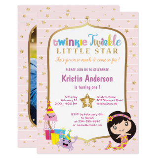 Twinkle Twinkle Little Star Photo Birthday Party Card