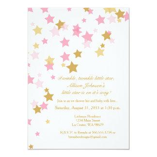 Twinkle Twinkle Little Star Pink & Gold Invitation
