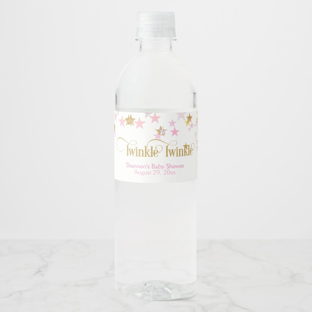 Twinkle Twinkle Little Star Pink & Gold Water Bottle Label