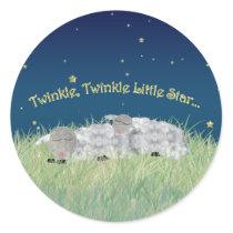 Twinkle Twinkle Little Star Sleeping Sheep Classic Round Sticker