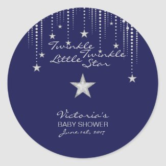 Twinkle Twinkle Little Star Stickers - Blue,Silver