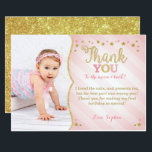 "Twinkle Twinkle Little Star Thank You Card<br><div class=""desc"">Thank your guest with this pink and gold twinkle twinkle little star birthday thank you card.</div>"
