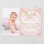 """Twinkle Twinkle Little Star Thank You Card<br><div class=""""desc"""">Thank your guest with this pink and gold twinkle twinkle little star birthday thank you card.</div>"""