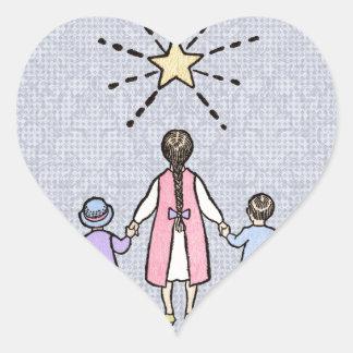 Twinkle, Twinkle Little Star Vintage Nursery Rhyme Heart Sticker