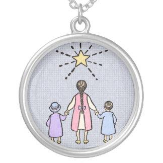 Twinkle, Twinkle Little Star Vintage Nursery Rhyme Round Pendant Necklace