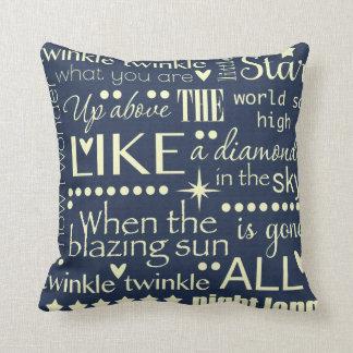 Twinkle Twinkle Little Star Word Art Design Throw Pillow
