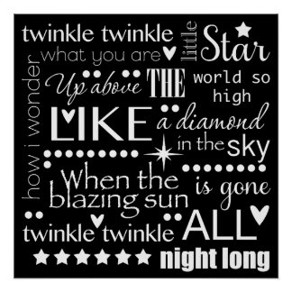 Twinkle Twinkle Little Star Word Art Poster