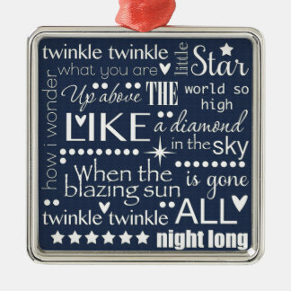 Twinkle Twinkle Little Star Word Art Text Design Metal Ornament