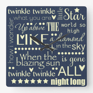 Twinkle Twinkle Little Star Word Art Text Design Square Wall Clock