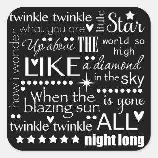 Twinkle Twinkle Little Start Word Art Text Design Square Stickers