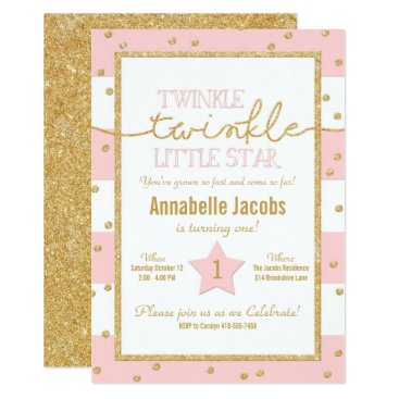 birthday Twinkle Twinkle Pink and Gold Birthday Invitation