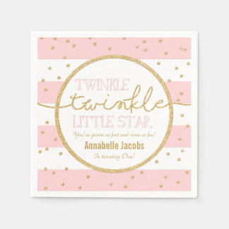 Twinkle Twinkle Pink and Gold Birthday Napkin
