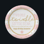 "Twinkle Twinkle Pink and Gold Birthday Plates<br><div class=""desc"">These adorable birthday plates features pink and white stripes with gold glitter accents. Perfect for a twinkle twinkle little star themed party. Customize to any age.</div>"