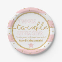 Twinkle Twinkle Pink and Gold Birthday Plates