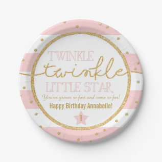 Twinkle Twinkle Pink And Gold Birthday Plates at Zazzle