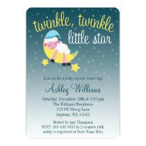 Twinkle Twinkle Star Lamb Die Cut Baby Shower Invitation
