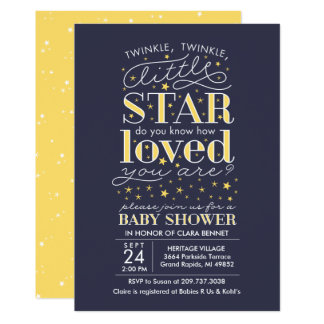 Twinkle Twinkle Star Theme Navy Baby Shower Card