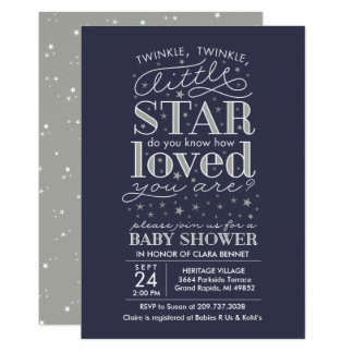 Twinkle Twinkle Star Theme Navy Silver Shower Card