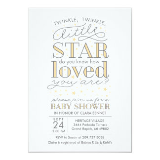 Twinkle Twinkle Star Theme Yellow Baby Shower 5x7 Paper Invitation Card