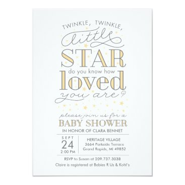 Toddler & Baby themed Twinkle Twinkle Star Theme Yellow Baby Shower Card