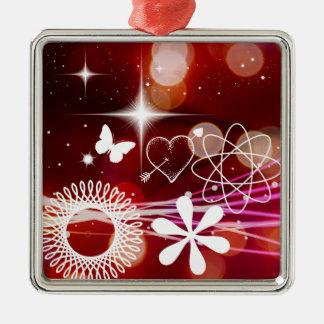 Twinkle Twinkle Stars Heart Butterfly Spirals Metal Ornament