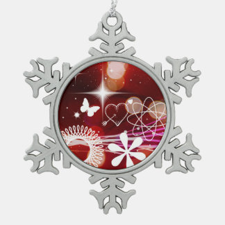 Twinkle Twinkle Stars Heart Butterfly Spirals Snowflake Pewter Christmas Ornament