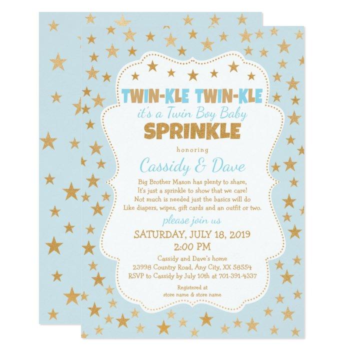 Twinkle Twins Baby Sprinkle Twin Boys Baby Shower Invitation Zazzle Com