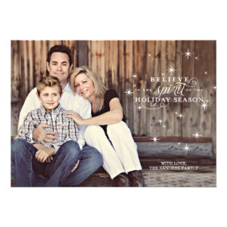 Twinkle White Stars Holiday Photo Card