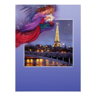 twinkling angel over paris skyline perfect poster