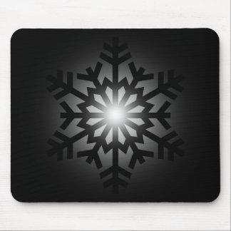 Twinkling Black Snowflake Mouse Pad