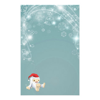 Twinkling Blue Christmas Paper with Yeti Toy Stationery
