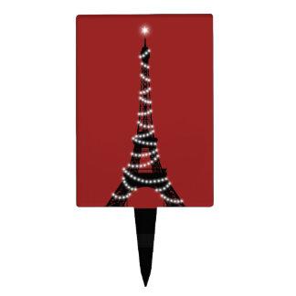 Twinkling Eiffel Tower Cake Pick in Red