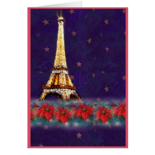 twinkling EIFFEL TOWER JOYEUX NOEL Card