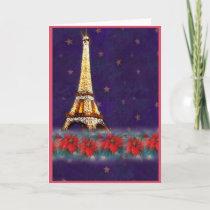 twinkling EIFFEL TOWER JOYEUX NOEL Holiday Card