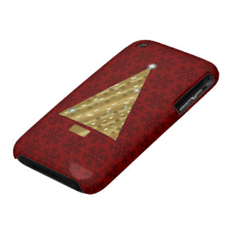Twinkling Gold Christmas Tree on Red Case-Mate iPhone 3 Covers