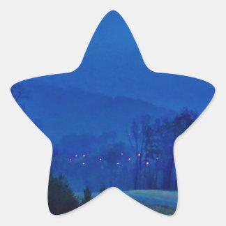 Twinkling Lights in a Blue Mountain Mist Star Sticker