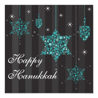 Twinkling Stars of David Hanukkah Invitation Card at Zazzle
