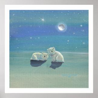 Twinkling Winter Polar Bear Cubs Poster Print
