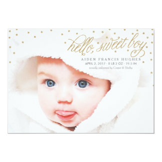 Twinkly Gold Stars Baby Boy Birth Announcement