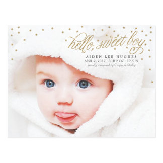 Twinkly Gold Stars Baby Boy Birth Announcement Postcard