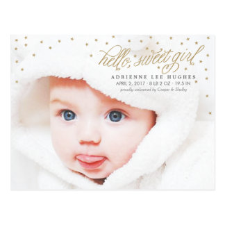 Twinkly Gold Stars Baby Girl Birth Announcement Postcard